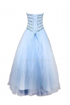 A-Line Sweetheart Beaded Long Blue Prom Evening Formal Party Dresses ED010463