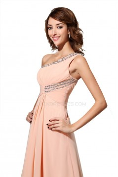 A-Line One-Shoulder Beaded Long Chiffon Prom Evening Formal Party Dresses ED010465