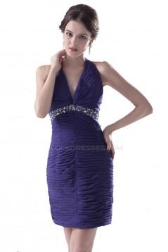 Beaded Pleated Halter Short Chiffon Prom Evening Formal Party Dresses ED010466