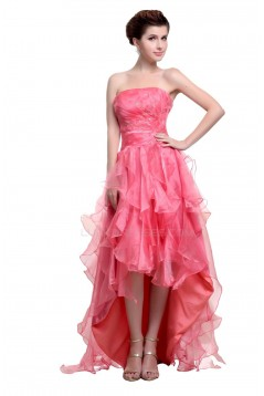 High Low Strapless Beaded Pink Prom Evening Formal Party Dresses ED010468