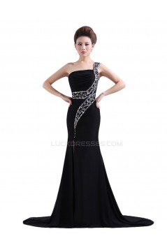 Trumpet/Mermaid One-Shoulder Beaded Long Black Chiffon Prom Evening Formal Party Dresses ED010469