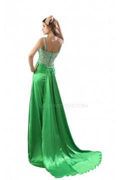 A-Line Beaded Long Green Prom Evening Formal Party Dresses ED010471