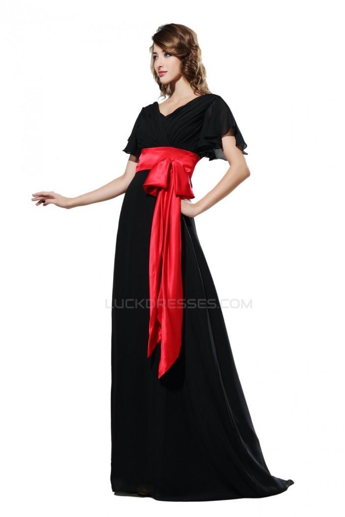 A-Line Short Sleeve Long Black Chiffon Prom Evening Formal Party Dresses ED010473