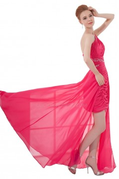 High Low One-Shoulder Long Pink Chiffon Beaded Prom Evening Formal Party Dresses ED010475