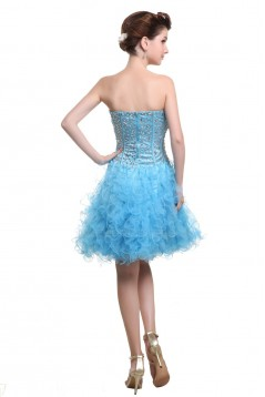 A-Line Strapless Beaded Short Blue Prom Evening Formal Party Dresses ED010476