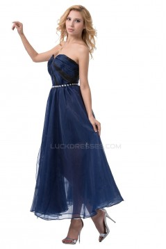 A-Line Strapless Beaded Blue Prom Evening Formal Party Dresses ED010477