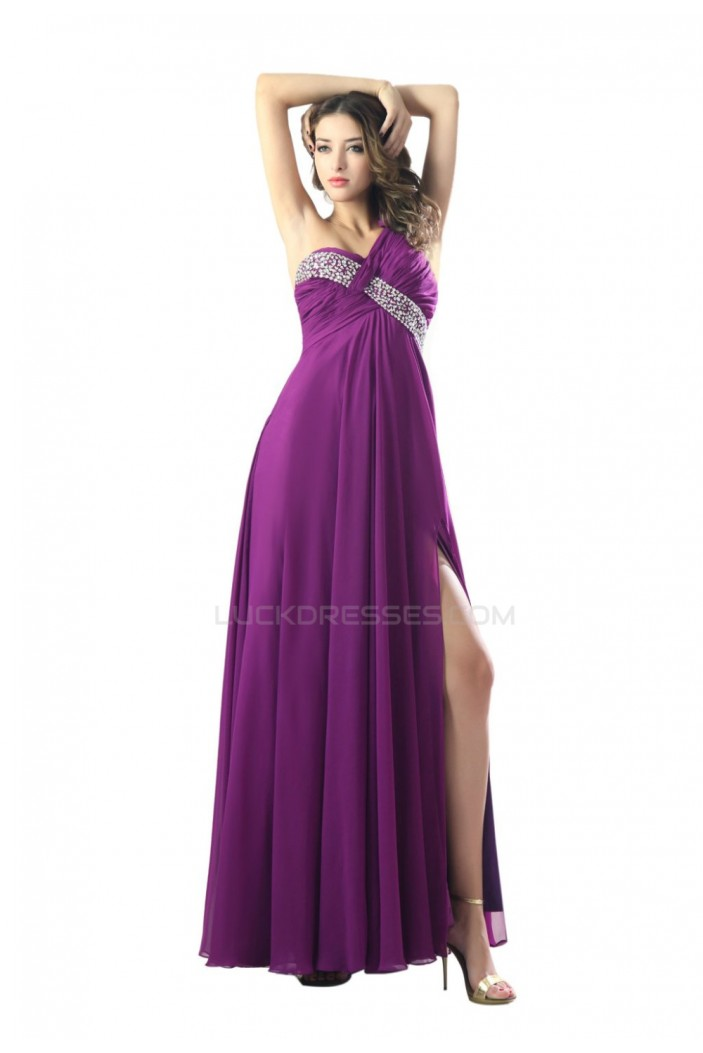 Empire One-Shoulder Beaded Long Purple Chiffon Prom Evening Formal Party Dresses/Maternity Evening Dresses ED010480