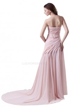 A-Line Sweetheart Beaded Long Pink Chiffon Prom Evening Formal Party Dresses ED010482