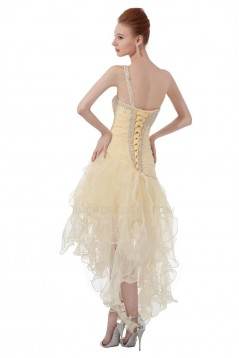 A-Line One-Shoulder Beaded Short Yellow Prom Evening Formal Party Dresses ED010484