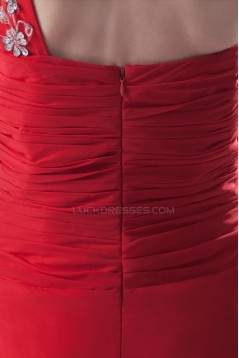 A-Line One-Shoulder Long Red Beaded Chiffon Prom Evening Formal Party Dresses ED010485