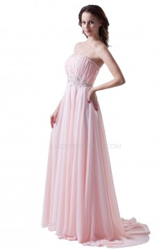 A-Line Strapless Beaded Long Pink Chiffon Prom Evening Formal Party Dresses ED010486