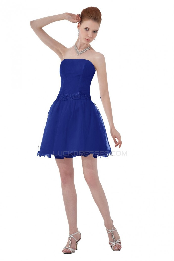 A-Line Strapless Short Blue Prom Evening Formal Party Dresses ED010487