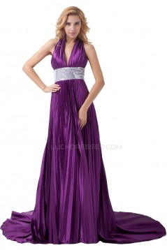 A-Line Halter Long Purple Pleated Prom Evening Formal Party Dresses ED010488