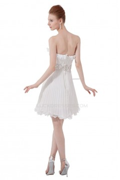 A-Line Strapless Pleated Short Beaded Chiffon Prom Evening Formal Party Dresses ED010493