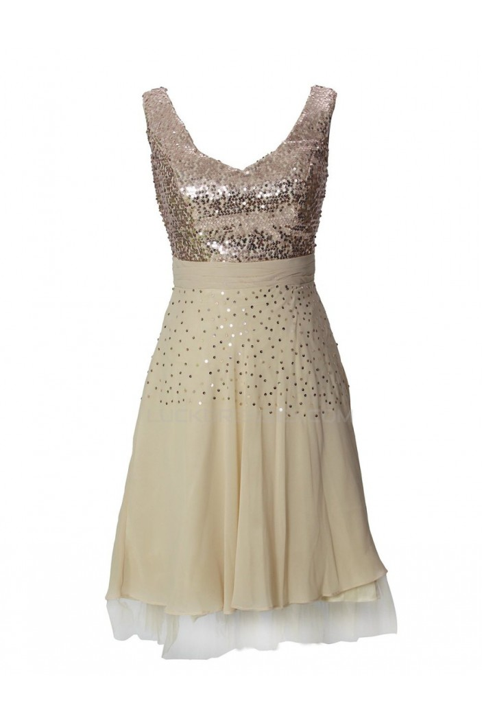 A-Line Short Sequin Chiffon Prom Evening Formal Party Dresses ED010494
