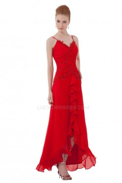 A-Line Spaghetti Strap Long Red Chiffon Prom Evening Formal Party Dresses ED010495