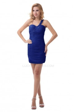 One-Shoulder Short Blue Pleated Prom Evening Formal Party Dresses ED010496