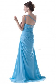 A-Line One-Shoulder Long Blue Pleated Chiffon Prom Evening Formal Party Dresses ED010497