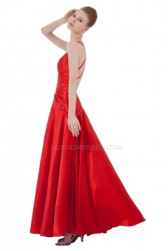 A-Line Spaghetti Strap Beaded Long Blue Prom Evening Formal Party Dresses ED010500