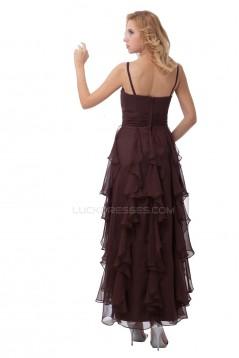 Spaghetti Strap Long Black Chiffon Prom Evening Formal Party Dresses ED010501
