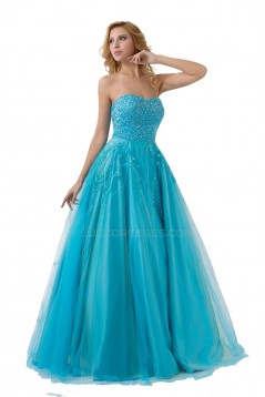 A-Line Strapless Beaded Long Blue Prom Evening Formal Party Dresses ED010504