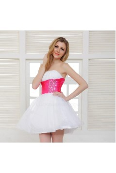 A-Line Strapless Beaded Short Prom Evening Formal Party Dresses ED010513