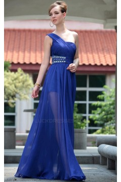 A-Line One-Shoulder Beaded Long Blue Chiffon Prom Evening Formal Party Dresses ED010515