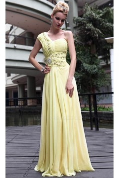 A-Line One-Shoulder Beaded Long Chiffon Prom Evening Formal Party Dresses ED010517