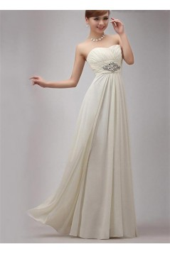 A-Line Strapless Long Chiffon Prom Evening Formal Party Dresses ED010523