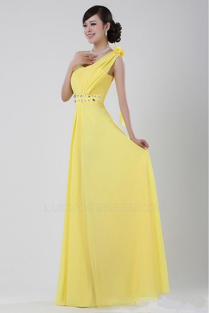 A-Line One-Shoulder Beaded Long Yellow Chiffon Prom Evening Formal Party Dresses ED010526