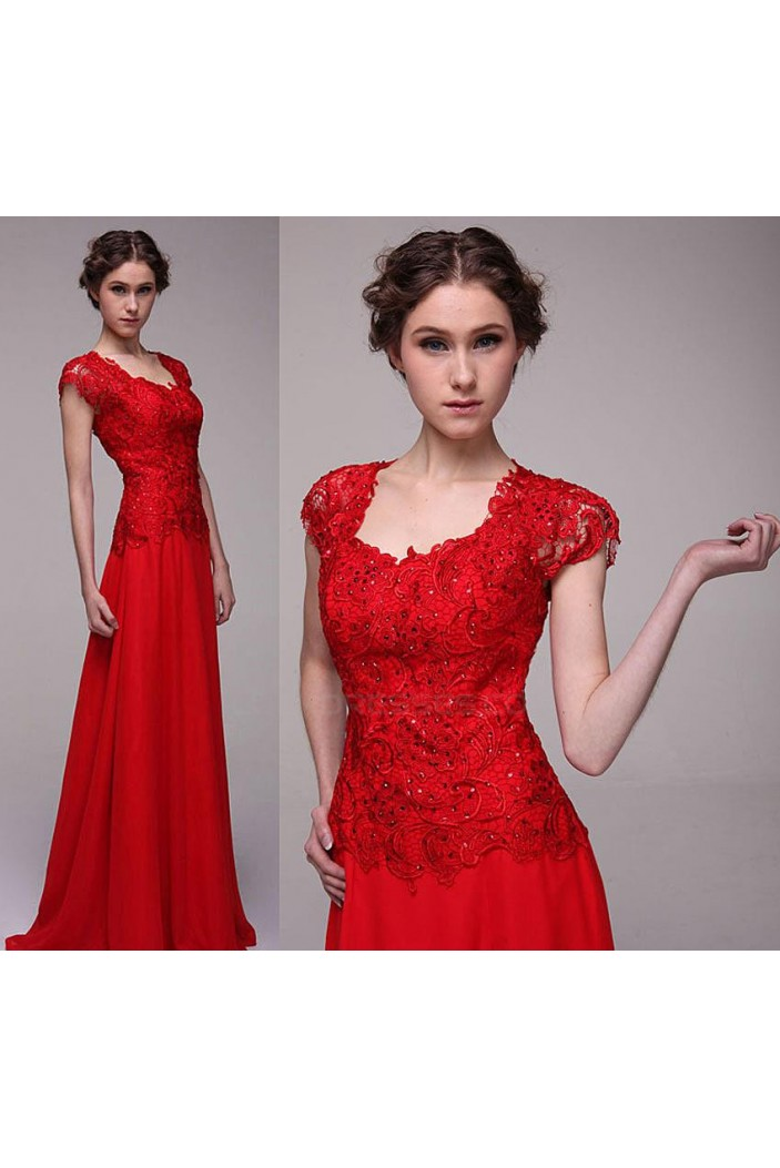 A-Line Long Beaded Red Chiffon Prom Evening Formal Party Dresses ED010527