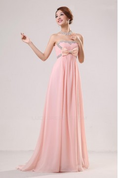 Empire Strapless Beaded Long Chiffon Prom Evening Formal Party Dresses/Maternity Evening Dresses ED010528