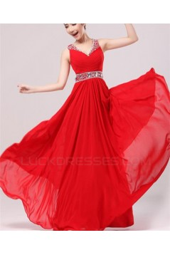 A-Line Beaded Long Red Chiffon Prom Evening Formal Party Dresses ED010529
