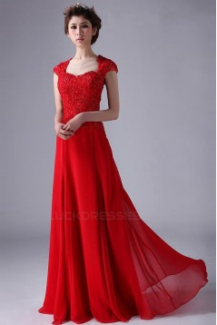 A-Line Long Beaded Red Chiffon Prom Evening Formal Party Dresses ED010531