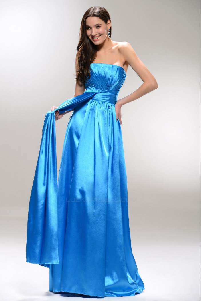 A-Line Strapless Long Blue Prom Evening Formal Party Dresses ED010534