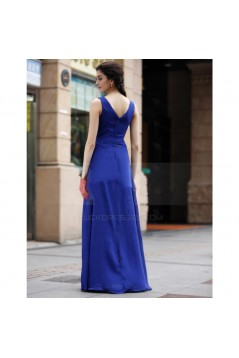 A-Line Beaded Long Blue Chiffon Prom Evening Formal Party Dresses ED010536