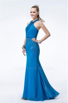 Trumpet/Mermaid Long Blue Chiffon Beaded Prom Evening Formal Party Dresses ED010538