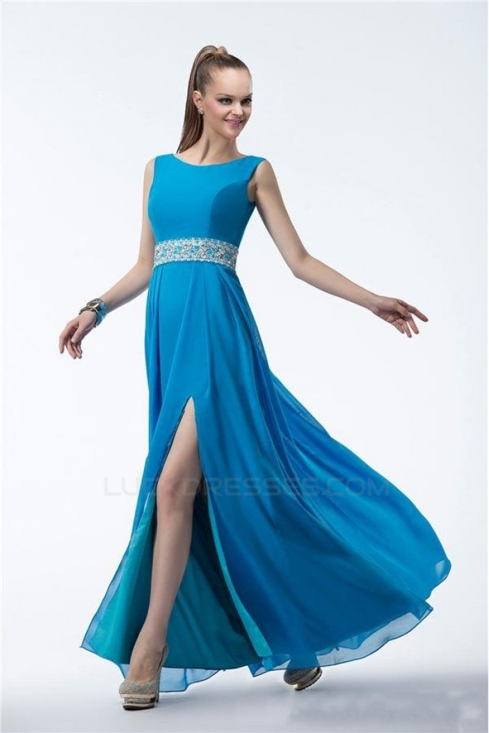 A-Line Beaded Long Blue Chiffon Prom Evening Formal Party Dresses ED010539