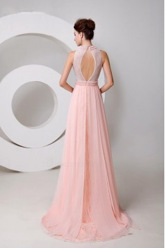 A-Line Beaded Long Pink Chiffon and Lace Prom Evening Formal Party Dresses ED010540