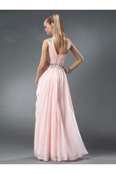 A-Line One-Shoulder Beaded Long Pink Chiffon Prom Evening Formal Party Dresses ED010543