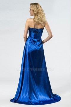 High Low Sweetheart Blue Sequin Prom Evening Formal Party Dresses ED010544
