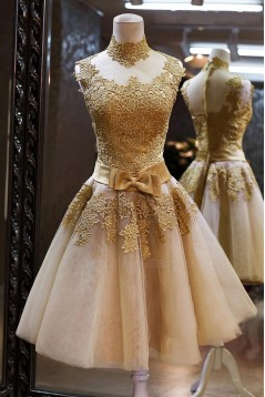 A-Line High Neck Short Prom Evening Formal Party Dresses ED010547