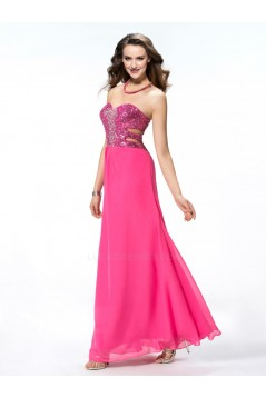 Long Pink Beaded Sequin Chiffon Prom Evening Formal Party Dresses ED010549