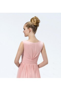 A-Line V-Neck Beaded Long Pink Chiffon Prom Evening Formal Party Dresses ED010550
