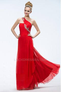 A-Line One-Shoulder Long Red Chiffon Prom Evening Formal Party Dresses ED010551