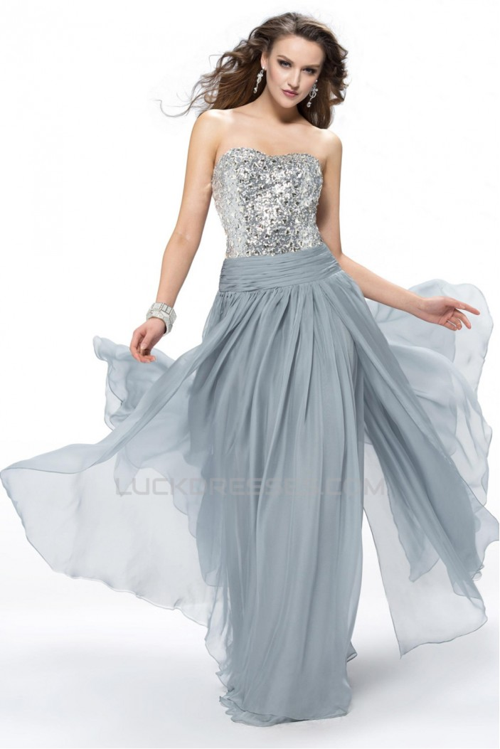 A-Line Strapless Beaded Long Grey Chiffon Prom Evening Formal Party Dresses ED010554