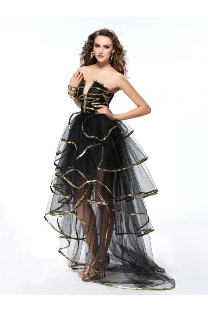 High Low Black Gold Prom Evening Formal Party Dresses ED010556