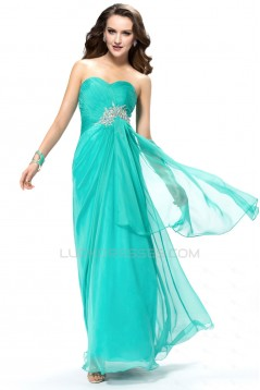 Sheath/Column Sweetheart Beaded Blue Long Chiffon Prom Evening Formal Party Dresses ED010557
