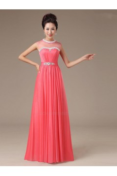 A-Line High Neck Beaded Long Chiffon Prom Evening Formal Party Dresses ED010559