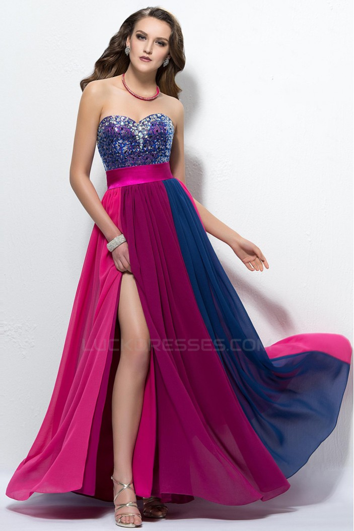 A-Line Sweetheart Beaded Long Chiffon Prom Evening Formal Party Dresses ED010560